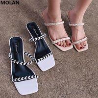 Dress Shoes MOLAN Brand Designer 2021 Summer Luxury Sexy Narrow Band Transparent Kitten Heels Lady Pumps Loafers Mules Flip Flops Beach Shoe