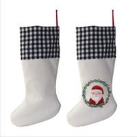 Sublimação xadrez de estojo de roupa de natal branco Saca de doces Santa Claus Saco de Presente Xmas Oranment Festival Fontes para Kid Dwa7800