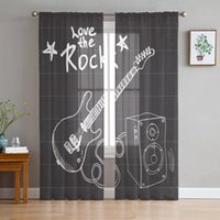 Curtain & Drapes Blackboard Rock Music Electric Guitar Tulle Window Treatment Sheer Curtains For Living Room The Bedroom Decoration