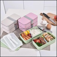 Kitchen Housekee Organization Home & Gardendouble Layer Portable Wheat St Material Lunch Eco-Friendly Food Container Storage Box Students Be