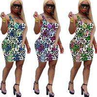Yaz Gündelik Elbise Bodycon Elbiseler Kolsuz Scoop Boyun Güzel Leopar Tavuskuşu Tüy Baskı Yelek Tshirt Artı Boyutları / M / L / XL / 2XL