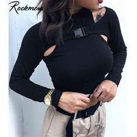 Rockmore Koreaner Stil Harajuku Schnalle Frauen Rollkragenlange Langarm T-Shirt Femme Basic T-Shirt Aushöhlen Gothic Baumwolltropf Top 210322