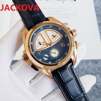 High Quality Men Full Functional Watch 45mm Quartz Movement Male Time Clock Wristwatch Leather belt skeleton top watches