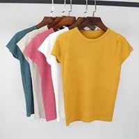 Bygouby Summer Tricoté Femmes T-shirt T-shirt Haute Élasticité O-Col À manches courtes T-shirt Tee Shirt Respirant Femme Tshirt 210317