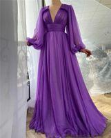 Элегантный фиолетовый шелковый шифон выпускные платья длинные рукава в рукавах линии V шеи драпированные лучшие империи простые 2021 вечерние платья