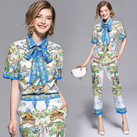 High Quality 2021 Summer Designer Fashion Runway Sets Women Short-Sleeve Bow Tie Shirts Tops + Casual Pattern Print Pants Set Women's Tracks