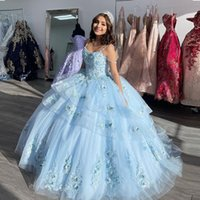 Light Blue Spaghetti Strap Quinceanera Dresses Handmade Flower Appliques Tiere Sweet 15 Dress Layered Tulle Skirt Junior Party Gown