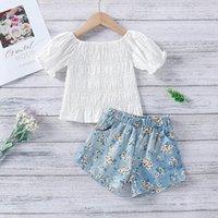 Menoea 2021 meninas roupas de verão conjuntos crianças crianças fora do ombro t-shirts tops shorts florais roupas casuais 2 pcs ternos