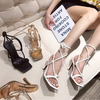 Dress Shoes Women's sandals, high heels, women's-style gladiator shoes with shoelaces. 83WL