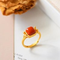 Cluster Rings Brand South Red Agate Jade Ring With 925 Sterling Silver Electroplated 18k Gold Jadeite Jewelry