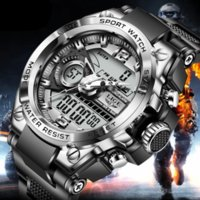 Lige Digital Hombres MERTRANTE WATCH 50M Reloj de pulsera a prueba de agua LED Reloj de cuarzo Reloj deportivo Masculino Relojes grandes Hombres Relogios masculino