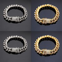 2020 Gold Silver Bracelets Jewelry Diamond Iced Out Chain Miami Cuban Link Chain Bracelet Mens Hip Hop Jewelry 126 R2