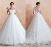 Charming Wedding Dresses Bridal Gowns Ball Lace Sheer Long Sleeves