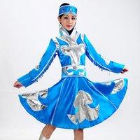 Mujeres Mongolian Ropa Escenario Performance Dance Falda Bata Gambiar Trajes Niños Minoría Tibetano Desgaste 89