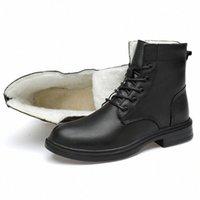 Botas para hombre Botas de nieve de la Guerra de Piel de Invierno Calidad 100% Zapatos de cuero genuino Lace Up Barcos de cuero Hombres Nieve U9SN #