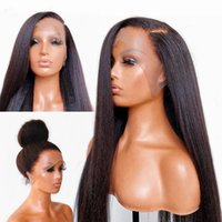 T Part Yaki Straight Lace Front Wigs Natural Synthetic No Gel Headband Wig Heat Resistant Fiber Hair Laces Fronts for Women Synthetics