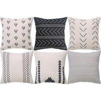 Геометрическая подушка - набор из 6 декоративных хлопчатобумажных диван-площади подушки, 45 х см