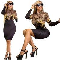 Мода Женщины Платье Письмо Дизайн Длинные Рукава Коленые Платья BodyCon One-Piece Юбка Леди Осень Осеннее Платье S-2XL