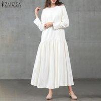 Robuli di colore solido Sundress Zanzea 2021 Donne Autunno Manica Piena Vintage Casual Dresses Plus Size Vestidos Kaftan Baggy Robe
