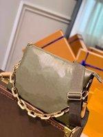 M57782 coussin mm bolsa bolsa de bolsa khaki verde puffy travesseiro sacos de ombro mulheres genuínas de couro de bezerro em relevo cadeia de padrão transportar bolsa de crossbody bolsas M57783