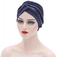 Abbigliamento etnico Abbigliamento musulmano Hijab Cappello Donne Copertura intera Cover Pianura interna con paillettes 2021 Islam Abayas Ramadan Turbans Bonnet