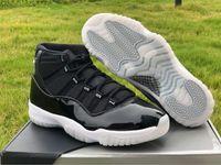 Mens Jumpman 11 Баскетбольные туфли 25-летие Черное ясное белое металлическое серебро Реальное углеродное волокно с оригинальной коробкой