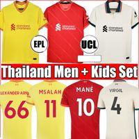 2021 LVP camisetas de fútbol M.SALAH ALEXANDER ARNOLD Mane Firmino VIRGIL DIOGO J Thiago ELLIOTT camiseta de fútbol KEITA Men + kit para niños Unifroms Liverpool camiseta maillot
