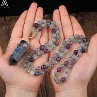 Kedjor Naturlig Labradorit Stone Point Hängsmycke 8mm Rainbow Fluorit Runda Pärlor Handgjorda Knot Mala Halsband 108 Bön Smycken