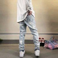 Factory Crosin High Cross Patching Doek Gat Was jeans Heren Straat Trend Slanke Montage Kleine Voet Casual Broek
