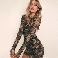Casual Dresses Sexy Women Fashion Camouflage Pattern Long Sleeve Bodycon Evening Party Mini Dress See Through Club Sheath
