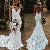 Bohemian Mermaid Wedding Dresses 2021 Backless Lace Applique Beach Country Spaghetti Straps Bridal Gowns Vestido De Noiva