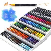 Watercolor Art Markers Brush Pen Dual Tip Fineliner Drawing for Calligraphy Painting 12 48 60 72 100 132 Colors Set Supplies 210909