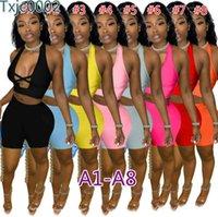 Frauen Zwei Stück Hosen Sets Designer Trainingsanzüge Slim Sexy V-Neck Sleeveless Shorts Farbe Kontrast Spleißband Aushöhlen Weste Outfits