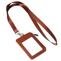 Porta carte Cancella tasca Tasca retrattile Nome del cordino ID ID Badge Supporto Bus Passo Moda Multi Slot Coins PU Cinturino in pelle PU
