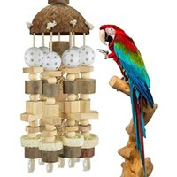 Other Bird Supplies Natural Parrot Chewing Bite Hanging Toy Wooden Toys Woodblocks Cage Swing For Cockatoos Parrots
