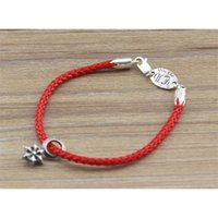 Jewelry Fashsion Luxury Design Bracelet 925 Sterling Silver Six Awn Star Leather Rope Buckle Brand Men's Korean Version Personality Red Women's Sweet