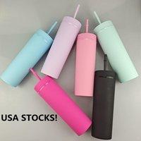 VS Stocks! Matte gekleurde 16oz acryl magere tuimelaars met deksel stro dubbelwandige gemengde pastelkleuren slank waterflessen 500ml koffie plastic sippy cups aangepast logo