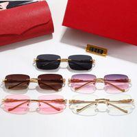 Óculos de sol de esporte de moda para mens 2021 unisex buffalo chifre sunglass homens mulheres sem aro óculos de sol prata ouro quadro de metal eyewear lunettes e caixa