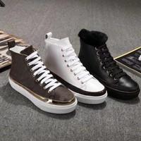 Kadın Kadın Moda Tasarımcısı Ayakkabı Rahat Kar 100% Deri Düz Gerçek Çizme Kış Lüks Çizmeler Sıcak Bandaj US5-10 Ebvts