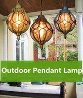 Pendant Lamps Vintage Glass Chandeliers Ball Outdoor Lamp Balcony Grape Waterproof Aluminum E27 Bulb Garden Hanging Loft ZDD0016