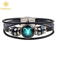 Sagittarius Zodiac Bracelet 12 Horoscope Multi-layer Leather Rope Bracelets For Men Braided Punk Chain Cuffs Link,