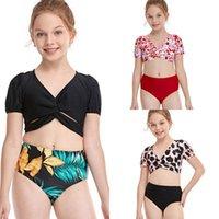 Traje de baño de animales de cristal para niños niña traje de baño 5-12 años Dos piezas Bikini para niños Set Niñas Traje de baño Beachwear de una sola pieza Trajes de una pieza