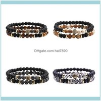 Strands Jewelrydouble Layer Healing Stone Bracelet Beaded Crystal Men Women Natural Lava Rock Bracelets With Pave Ball Stress Anxiety Relief