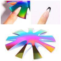 Красота металлические шаблоны для ногтей шаблоны Edge Professional 1-9 Размеры U в форме вырезать триммер французских ложных ногтей маникюр инструмент