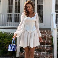 Vücut Şekillendirici Şekillendirici Bel Şifon Fener Kollu Elbise Yaz Kare Yaka Sarılmış Göğüs Pileli Etek Kadın