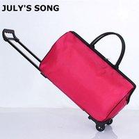 Suckscases أغنية يوليو المرأة المتداول حقيبة الأمتعة السفر عربة حقيبة للجنسين أكياس سعة كبيرة تحمل مع عجلات