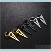 Earrings Jewelryfashion Personality Cool Hollow Triangle Ear Clip Without Pierced Mens Titanium Steel Earring Stud Drop Delivery 2021 Vzjdf