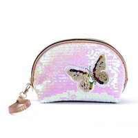 Cosmetic Bags & Cases Half Circle Women Bag PU Leather Sequin Girl Makeup Female Beauty Case Travel Portable Zipper Toiletry Make Up