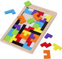 Ahşap Tetris Bulmaca Tangram Yapboz Beyin Teasers Oyuncak Yapı Taşları oyunu Renkli Ahşap Bulmacalar Kutusu Zeka Eğitim Hediye Çocuklar için