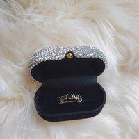 Gift Wrap Luxury Inlaid Diamond Jewelry Earring Ring Display Case Box Storage Organizer Holder Packaging Portable Travel Wedding